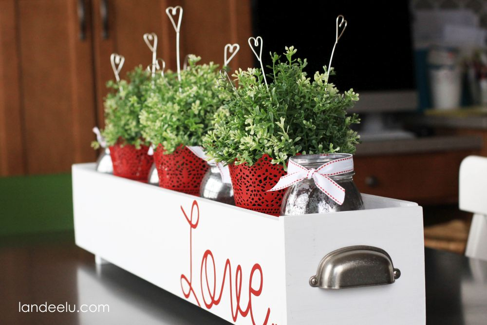 Table centerpiece decorated for Valentines Day