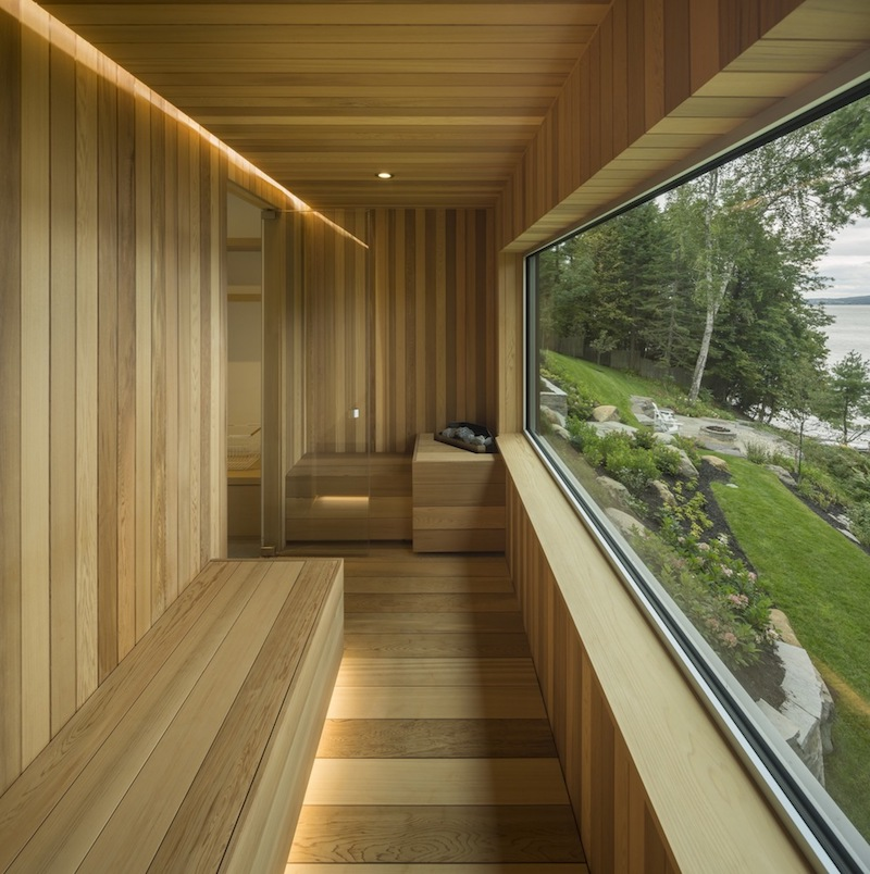 The house also has a sauna which covered in warm wood and has a large panorama window with a cool view