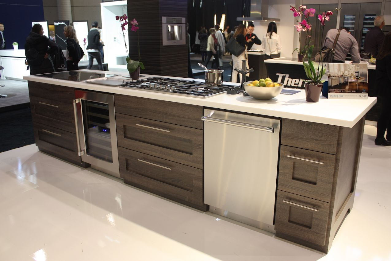 On top and underneath, the island holds most all of the appliances you would ever need.