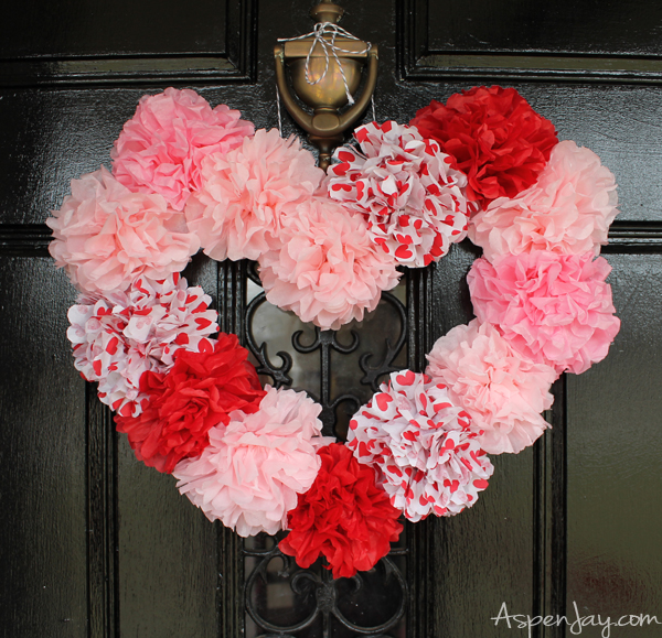 Tissue Paper Heart Wreath Tutorial