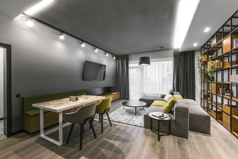 The layout of the living area is not exactly very practical or easy to work it but the decor turned out great here