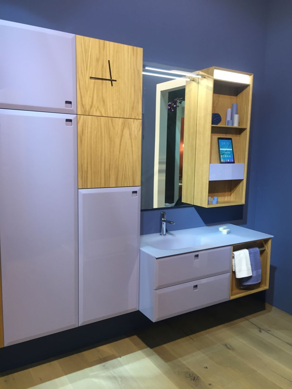 Large bathroom cabinets provide enough room inside for laundry hampers, linens and all sorts of other things
