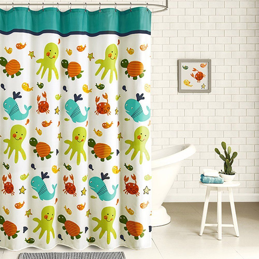 30 kids shower curtains with cute funny and colorful designs for Funny shower curtains