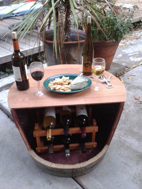 Wine barrel turned into a wine rack