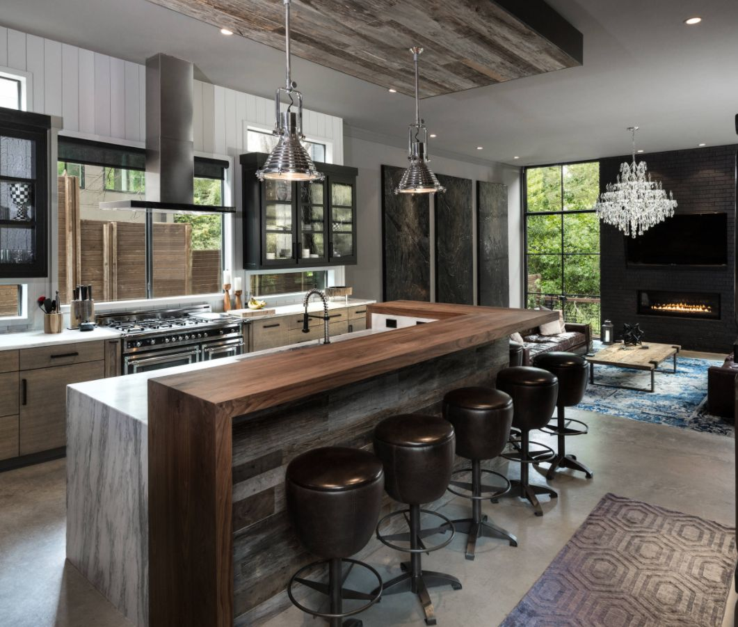 Industrial Galley Kitchen: Keep Up With The Waterfall Countertop Trend