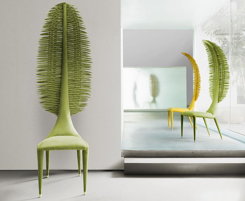 The Zaza side chair from Kenneth Cobanpue is part fighting chair, part wonderland fantasy.