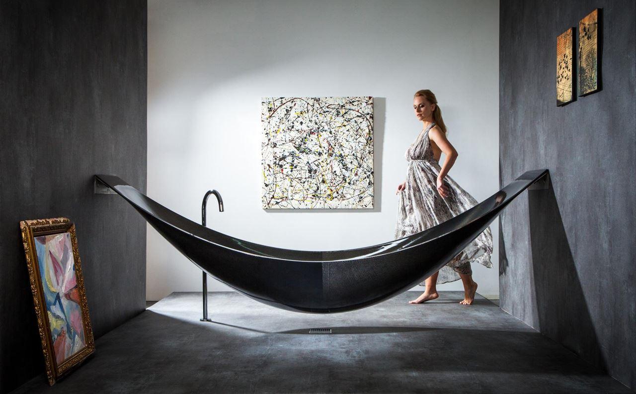 The latest designs that turn bathtubs into works of art for Carbon fiber hammock bathtub