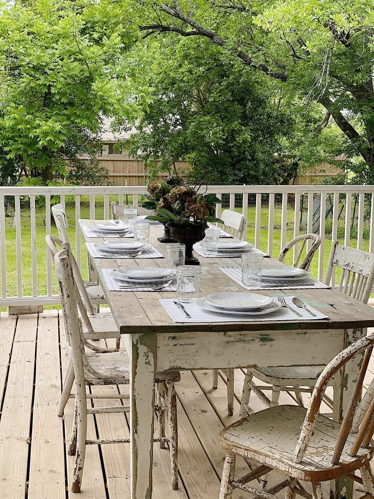 A Farmhouse Table Can Be Used Inside Or Outside