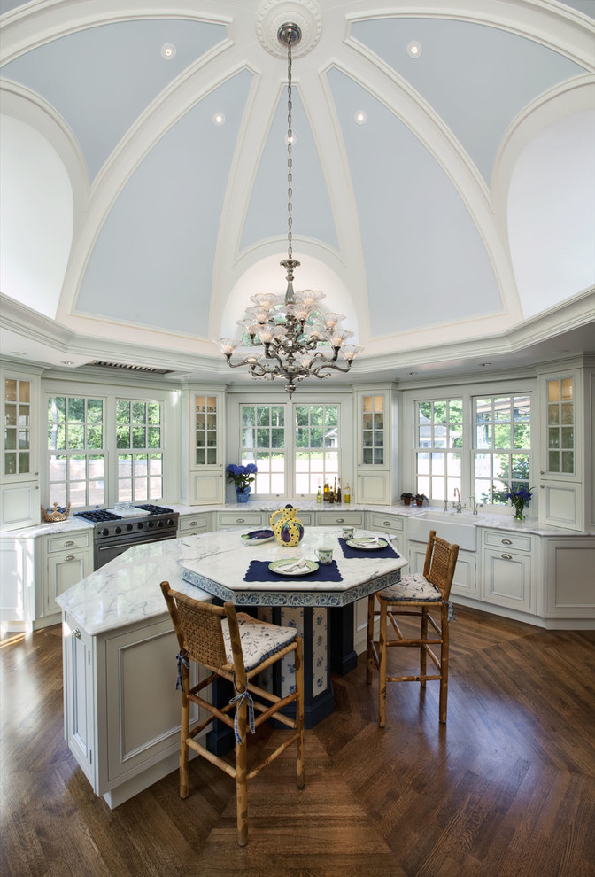 A domed kitchen ceiling brings the focus upward and reflects more light.