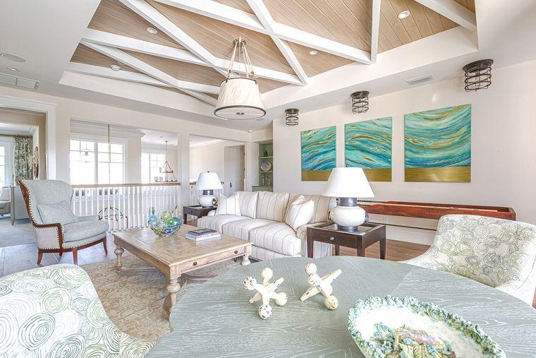 Coastal living room interior design home decorating for Interior designs of homes
