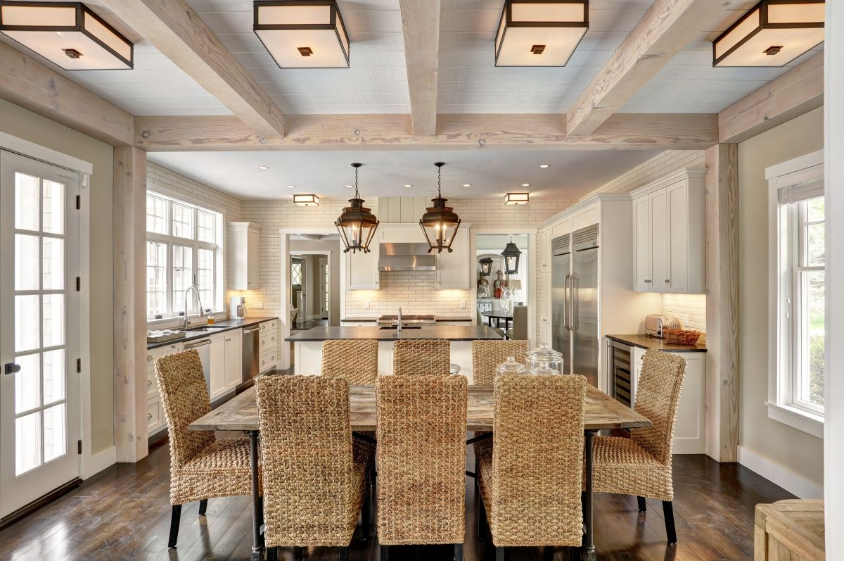 Contemporary spaces can incorporate beams that are lighter in color for a totally different look.
