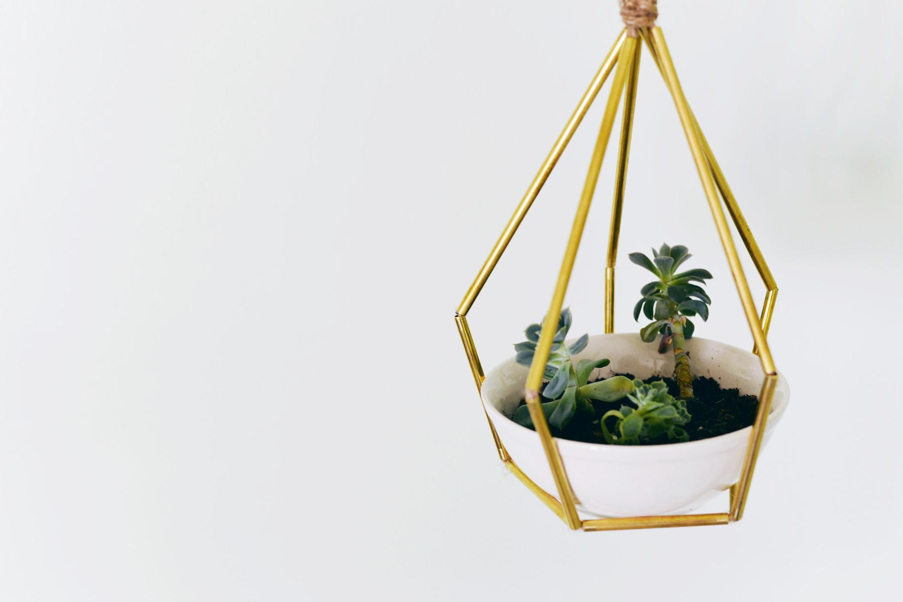 DIY Geometric Metal Tubing Hanging Planter