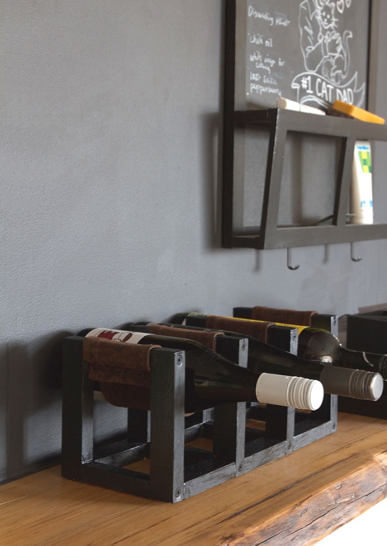 DIY Leather Sling Wine Rack