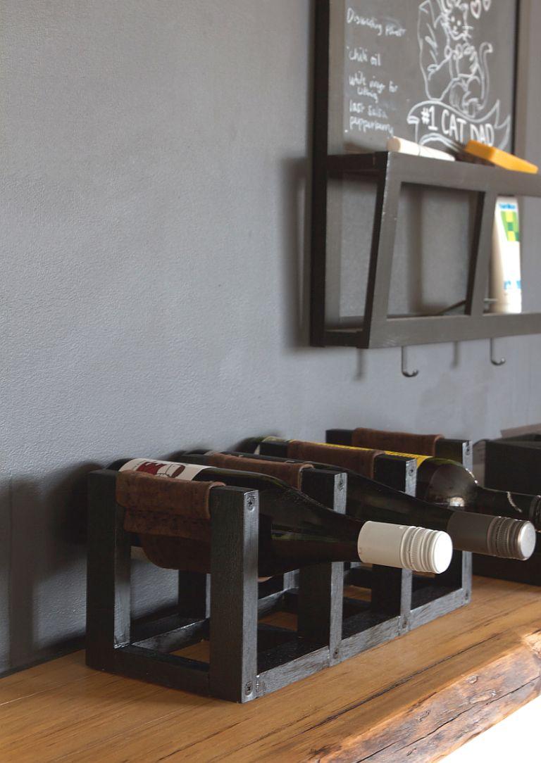 DIY Leather Sling Wine Rack