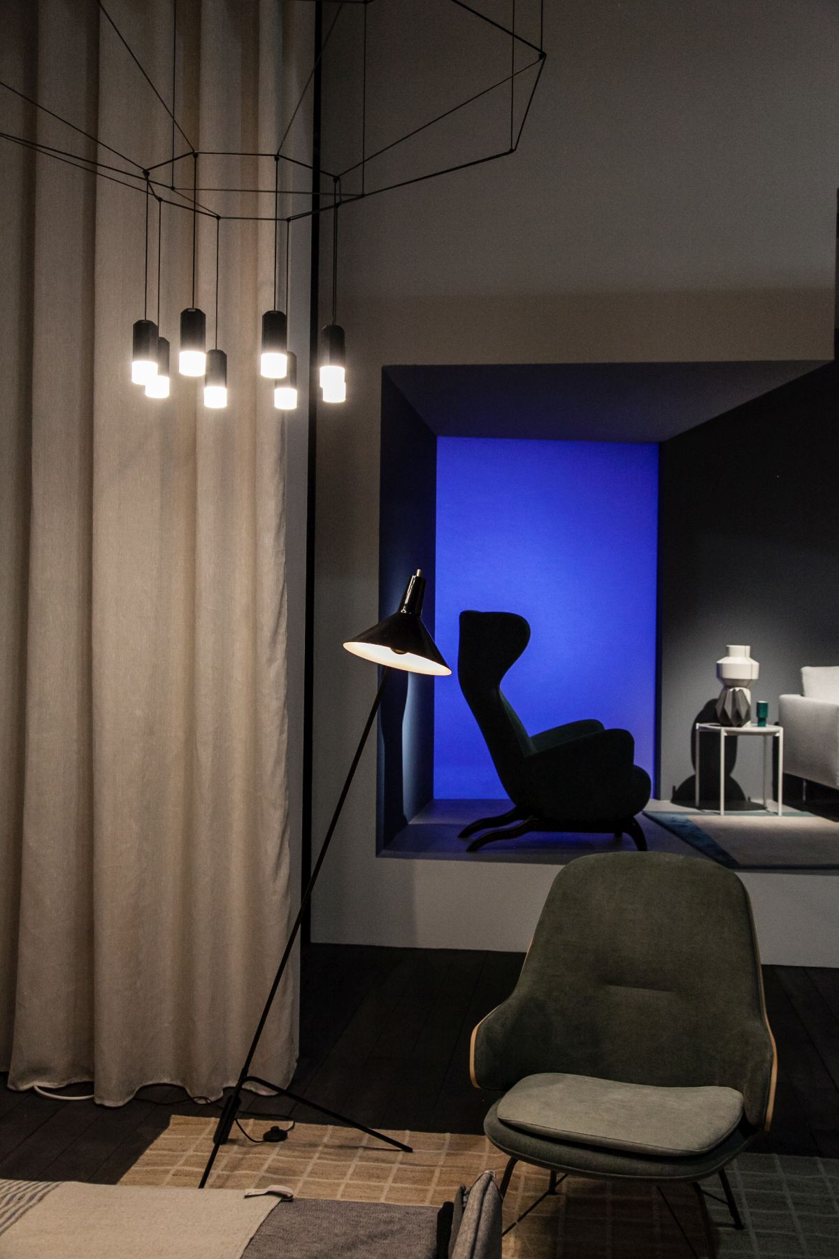 Hanging and tripod lighting fixtures for living room