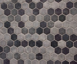 Honeycomb gray backsplash tiles