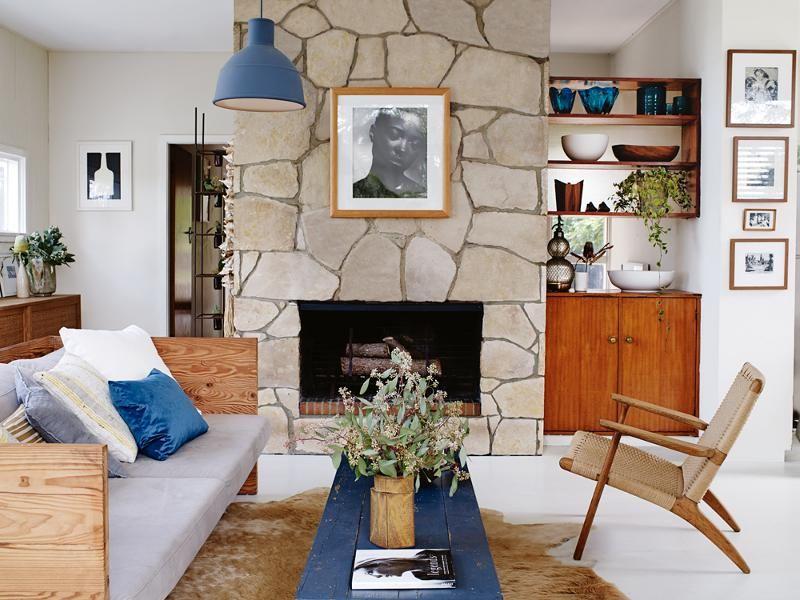 Modern Fireplce Design From Rocks Mid Century Living