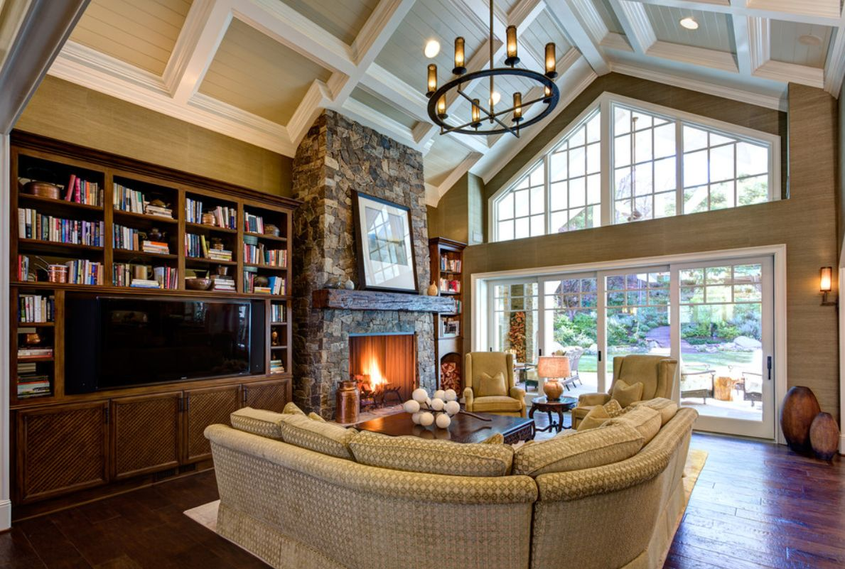 Highly traditional room styles can benefit from a vaulted ceiling for a more open feel.