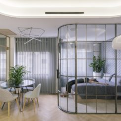 Using this concept for the bedroom opens up the feeling of the long apartment.