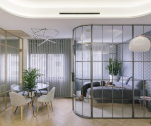 Glass Walls and Lots of Curves Distinguish Luxury Madrid Apartment Renovation