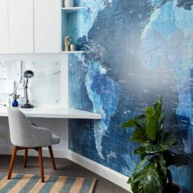 Wall mural world map office