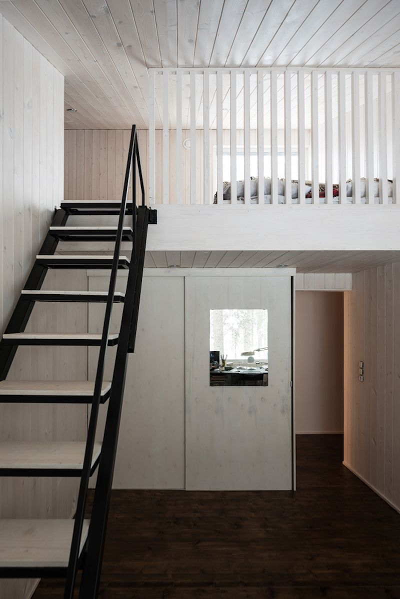 A mezzanine level houses the sleeping areas for the kids and the guests plus a quaint yoga space