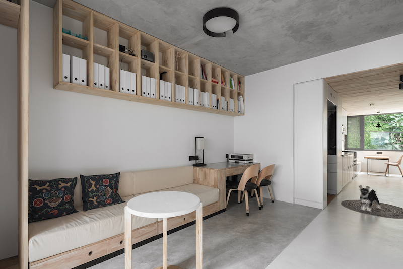Some functions were combined into a single open space with hybrid, custom-made furniture