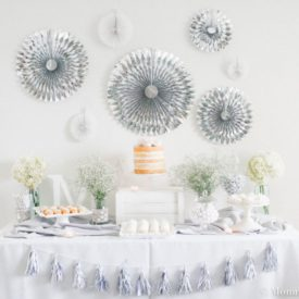 Baby shower white and silver decor
