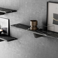 Black modern marble shelf