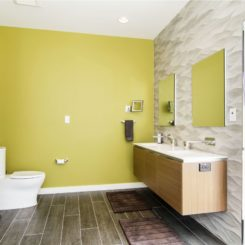 Contemporary Bathroom with Chartreuse color