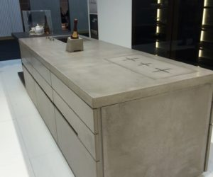 The concrete finish is modern yet earthy and the induction technology is cutting-edge.