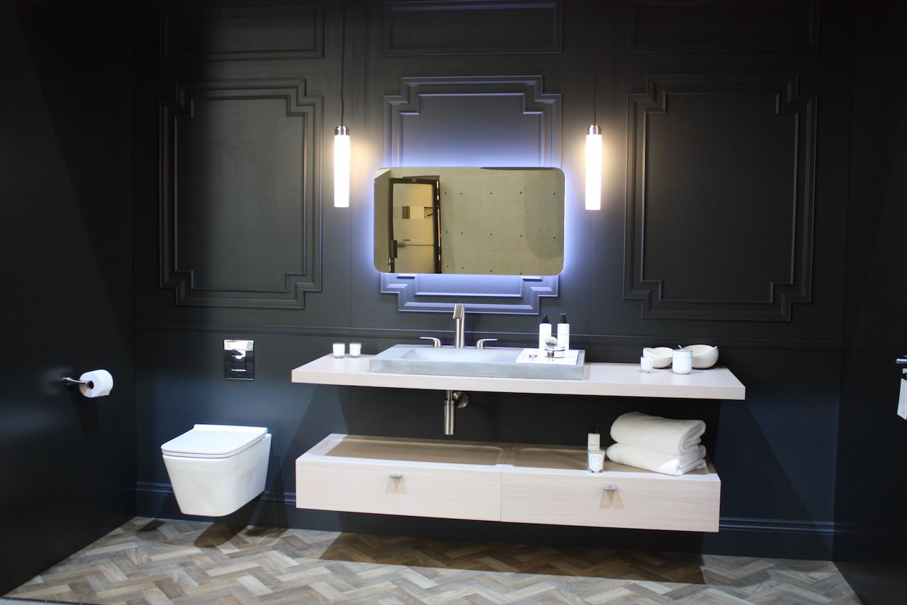 This DXV bathroom design is china and sophisticated -- and very adult.