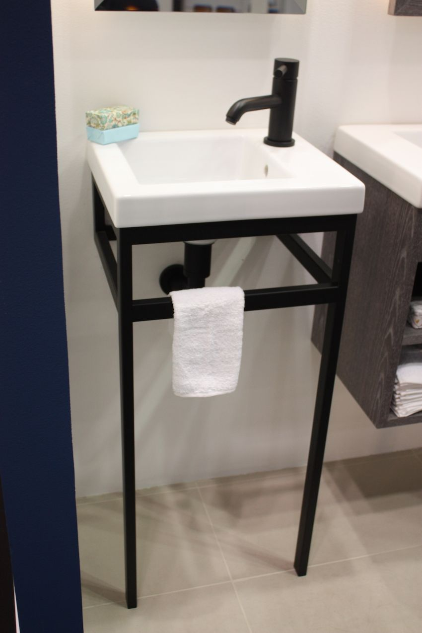 The wall-mounted, leggy base is an ideal bathroom design idea for places where space is at a premium.