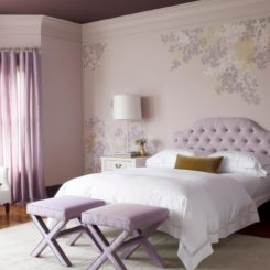 Lavender bedroom tufted headboard
