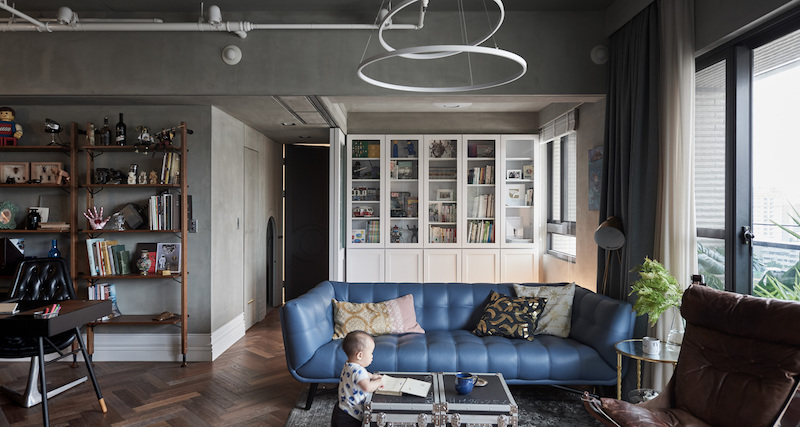 The interior design of this family home combines elements of the industrial and classical styles