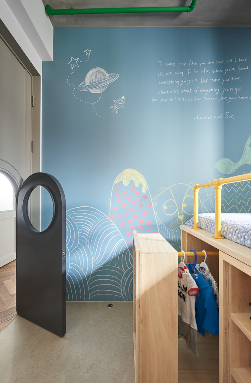 The child's bedroom has a tiny door instead of a regular one and that adds a very personal touch to its design
