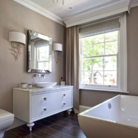Taupe bathroom walls curtains