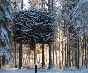 The Birds Nest TreeHotel winter