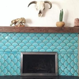Turquoise Fish Scale Tile Fireplace
