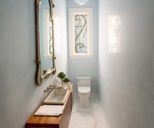 extra slim powder blue powder room