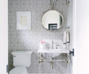 silver printed contemporary powder room