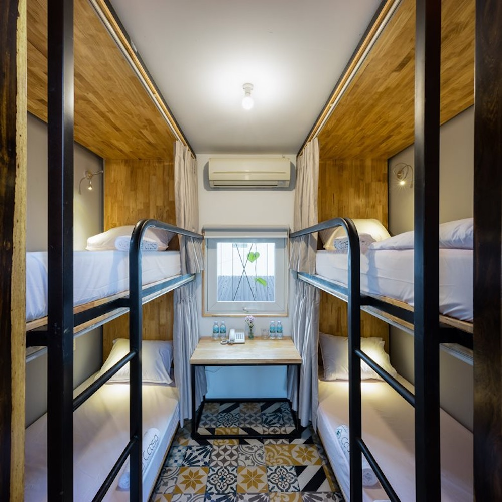 Inside the bedroom there are bunk beds and very little floor space to spare, just enough to move around