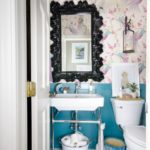 Colorful small powder room decor