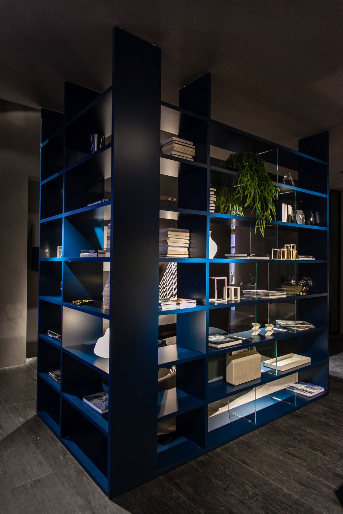 Shelving units can also double as space dividers and that's a pretty cool option for small spaces