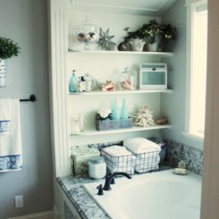 Decorating on a Budget - bathroom shelves