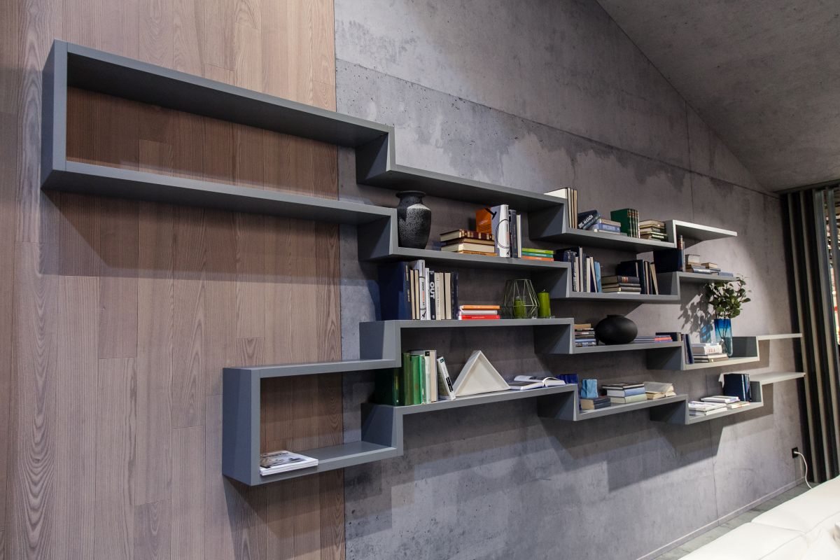 Geometric shelving installations are particularly popular in modern and contemporary interior designs