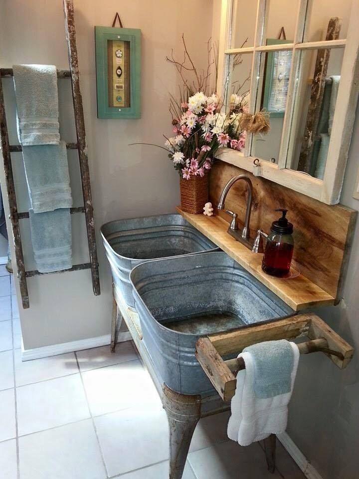 rustic bathroom vanities Horse Trough Vanity