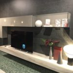 Marble accents living room wall unit