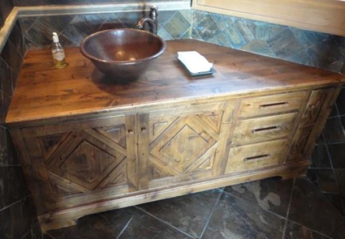 rustic bathroom vanities Neutral Vanity with Carved Designs