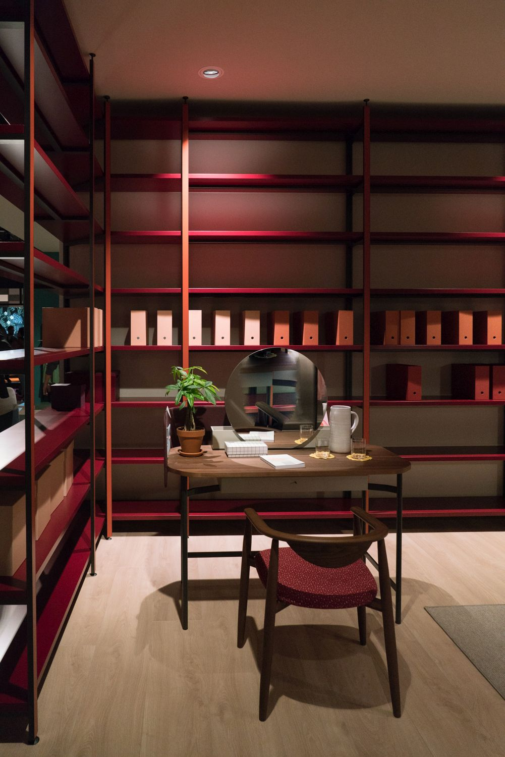 Of course, workspaces can definitely use shelves in their interior designs as well as there are many things which can be organized this way